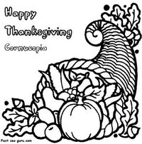 Free Printable thanksgiving Cornucopia coloring page for