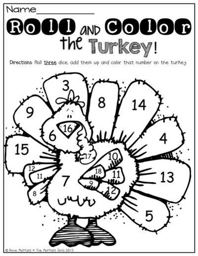 Roll 2 dice, add them up and color the turkey