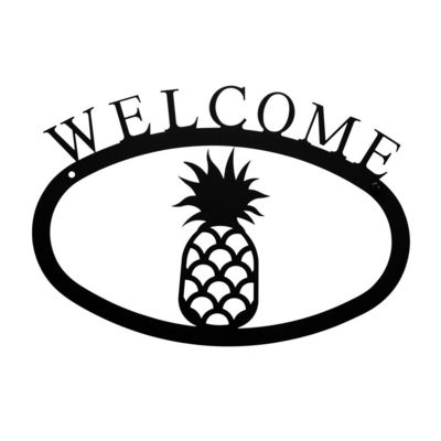 Wrought Iron Pineapple Welcome Home Sign Small https