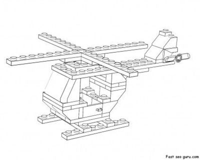 Printable Lego helicopter coloring page kids Onl