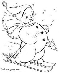 ags: Print out Snowman skis coloring page fargelegge