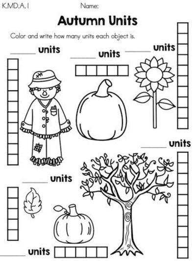 Autumn Units >> Measure objects by coloring number of