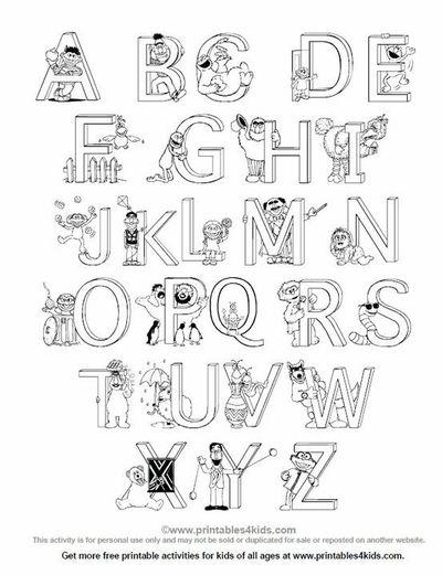 Sesame Street Alphabet Coloring Page / Preschool items
