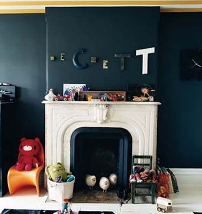 dark blue walls white fireplace  For the home  Juxtapost