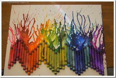 Melted Crayon Art Make With Hair Dryer Or In The Oven