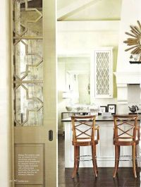 Beautiful pocket door embellished with antique mirror. How