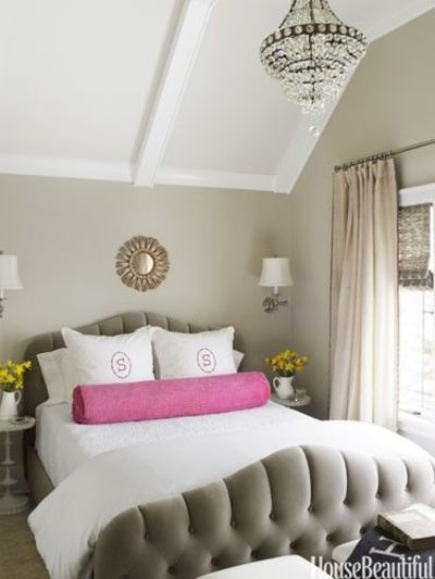 neutral bedroom with a
