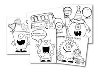 Monster Back to School Coloring Sheets / Preschool items