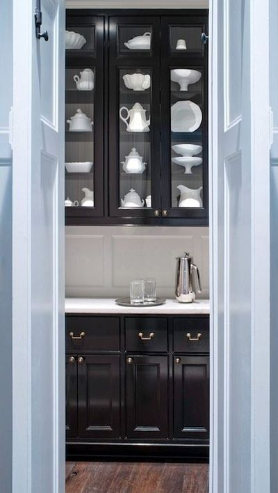glossy black butlers pantry cabinets  For my kitchen