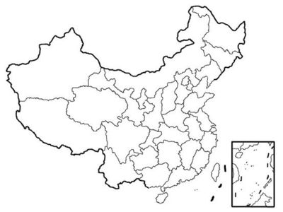 Blank printable blank map of China w/ provinces