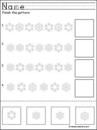 Snowflake Cut and Paste Pattern Worksheet Freebie