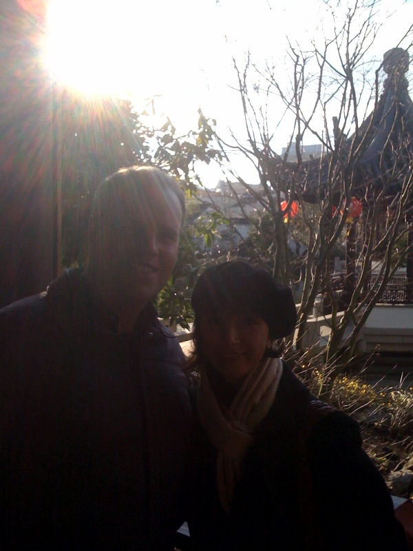 Brian sent this photo of the two of us takan at the Chinese Garden by Portland artist Nick Grainger.