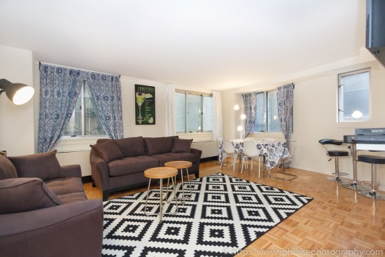 Apartment photographer New York City Two Bedroom Midtown East NY living room