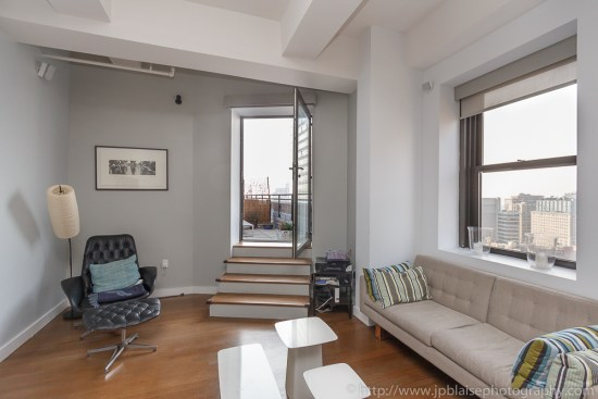 Apartment photography of a two bedroom unit in downtown Brooklyn in New York City living room