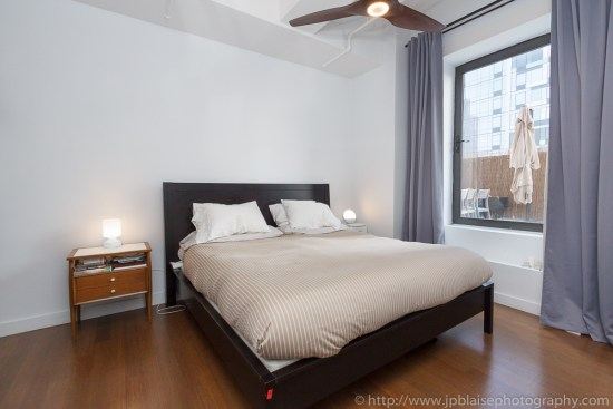 Master bedroom photography in downtown brooklyn condo unit with terrace