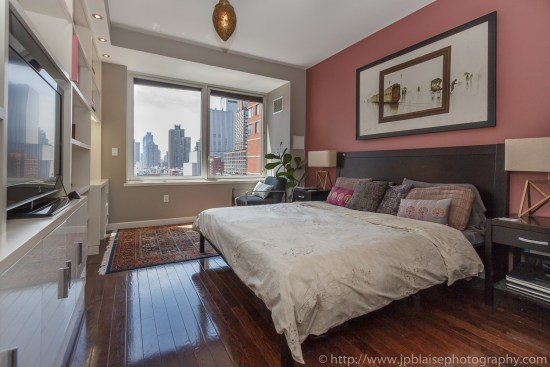 Interior photographer new york master bedroom of midtown west apartment