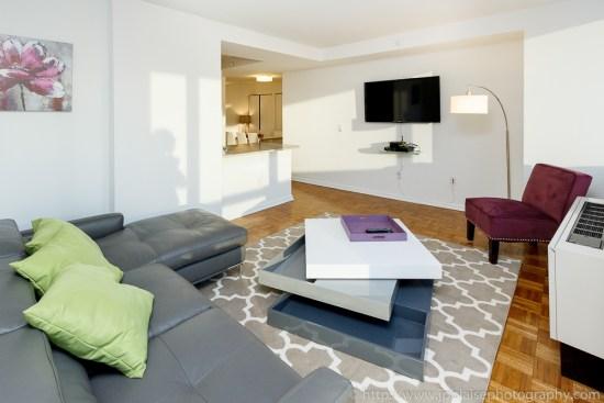 Interior photographer work: modern two bedroom apartment in Midtown Manhattan living-room