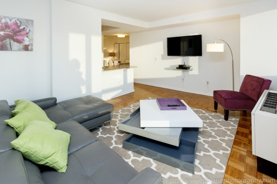 Interior photographer work: modern two bedroom apartment in Midtown Manhattan living-room