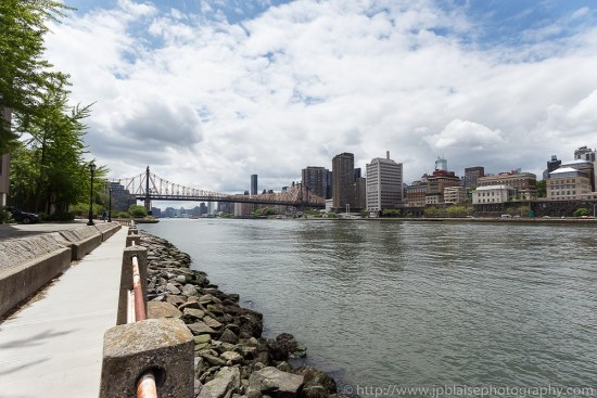 Interior photographer work: picture of the view of Midtown Manhattan Skyline and Queensboro Bridge from Roosevelt Island