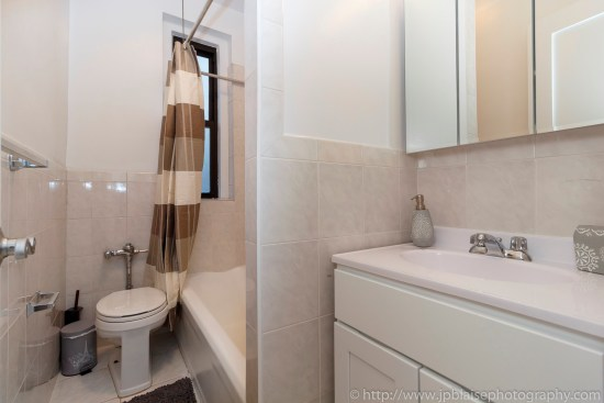 NY apartment photographer Lower East Side one bedroom real estate interior photography bathroom