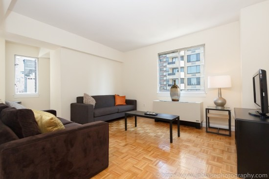 NYC apartment photographer two bedroom midtown living room