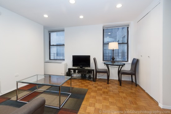 New York City apartment photographer one bedroom midtown Manhattan living room