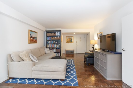 New York City apartment photographer two bedroom unit on the Upper East Side living room