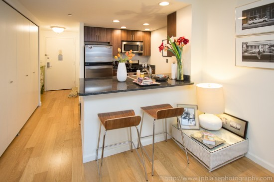 Real Estate photography of open kitchen in Dumbo, Downtown Brooklyn