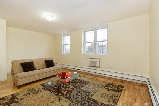 Interior photographer work: Living room of one bedroom apartment in Bedstuy, Brooklyn, NY
