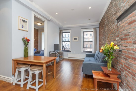 Real estate photography session in the East Village of New York, living room of a 2 bedroom apartment