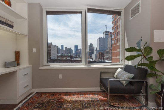 Real estate photographer new york master bedroom of midtown west apartment