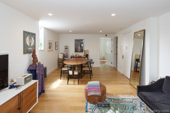 Real estate photographer work west village one bedroom apartment living room