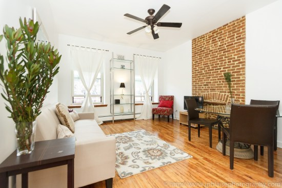 new york city interior photographer one bedroom harlem living room