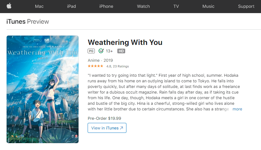 Watch Weathering With You Online on Itunes