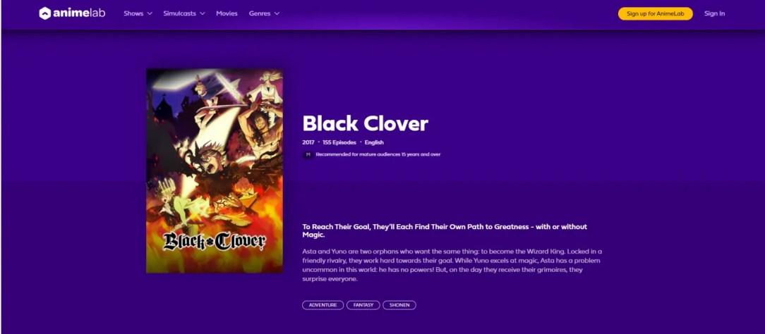 Black Clover AnimeLab