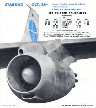 Timetable 1958Oct26FirstJetService LON-PAR-ROM
