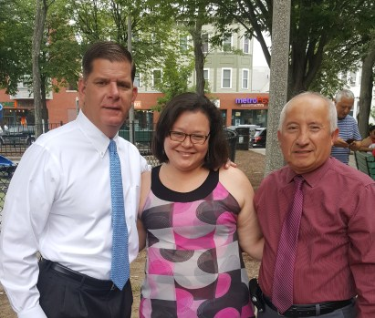 Mayor Marty Walsh with Ginger Brown, Exec Dir, and Melvin Tutiven, Board Treasurer