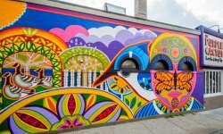 purple cactus mural