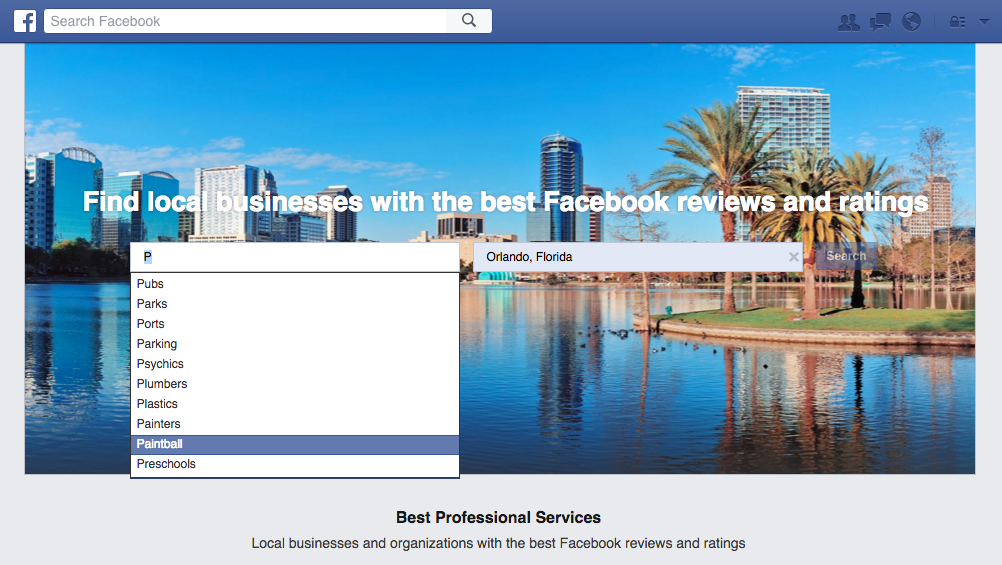 Facebook Services: Find Businesses in Your City Based on Their Ratings and Proximity