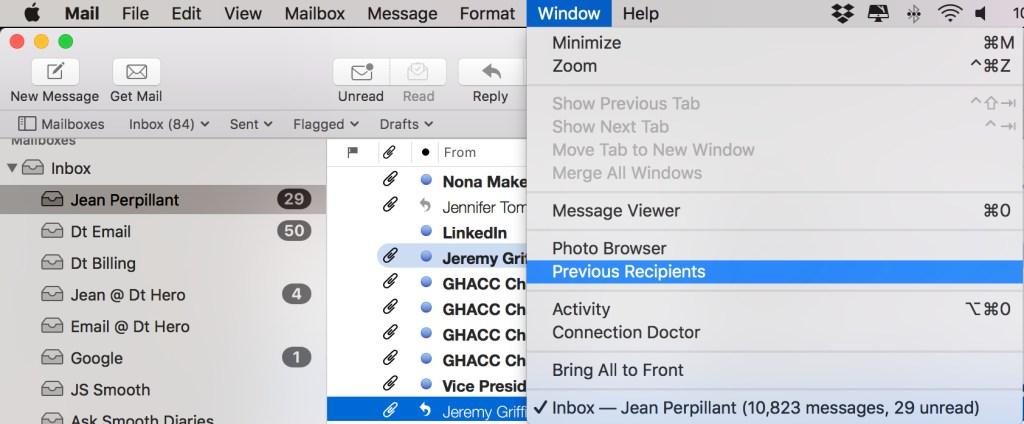 Mac Mail - Previous Recipients Screen