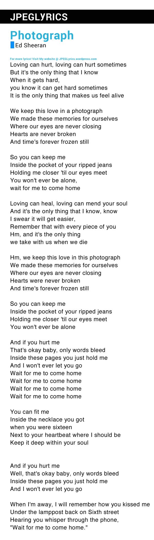 Ed Sheeran Photograph Meaning : sheeran, photograph, meaning, Photograph, Lyrics, Sheeran
