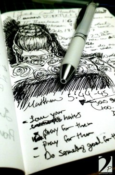Ink sketch on my notes from church.