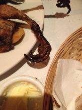 Unfortunately, the grouse kept clawing the bread basket every time I cut into it.