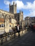 Welcome to Bath! I'm standing at the epicenter - the abbey in the back and the Roman Baths right behind.