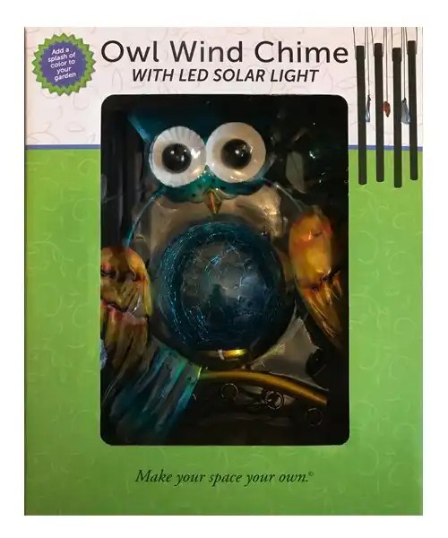 Owl Wind Chime With Solar LED Light Boxed