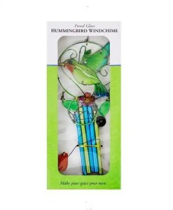 Fused Glass Hummingbird Wind Chime Boxed