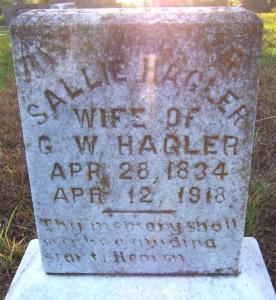 """Grave of Sarah """"Sallie"""" Lancaster Hagler, Oakwood Cemetery, Oakwood, Texas. Photograph by Ed and Sue Anderson, July 16, 2009."""