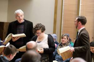 Leading from Original Sacred Harp: Centennial Edition at the Society for Christian Scholarship in Music and Emory Singing with Allen Tullos, co-director of the Emory Center for Digital Scholarship and Danielle Pitrone, who assisted with the production of the new Centennial Edition.