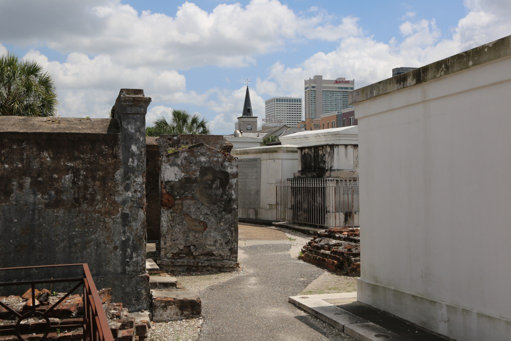 St. Louis cemetery with New Orleans backdrop