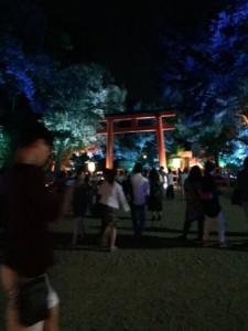 下鴨神社ライトアップ 鳥居.JPG